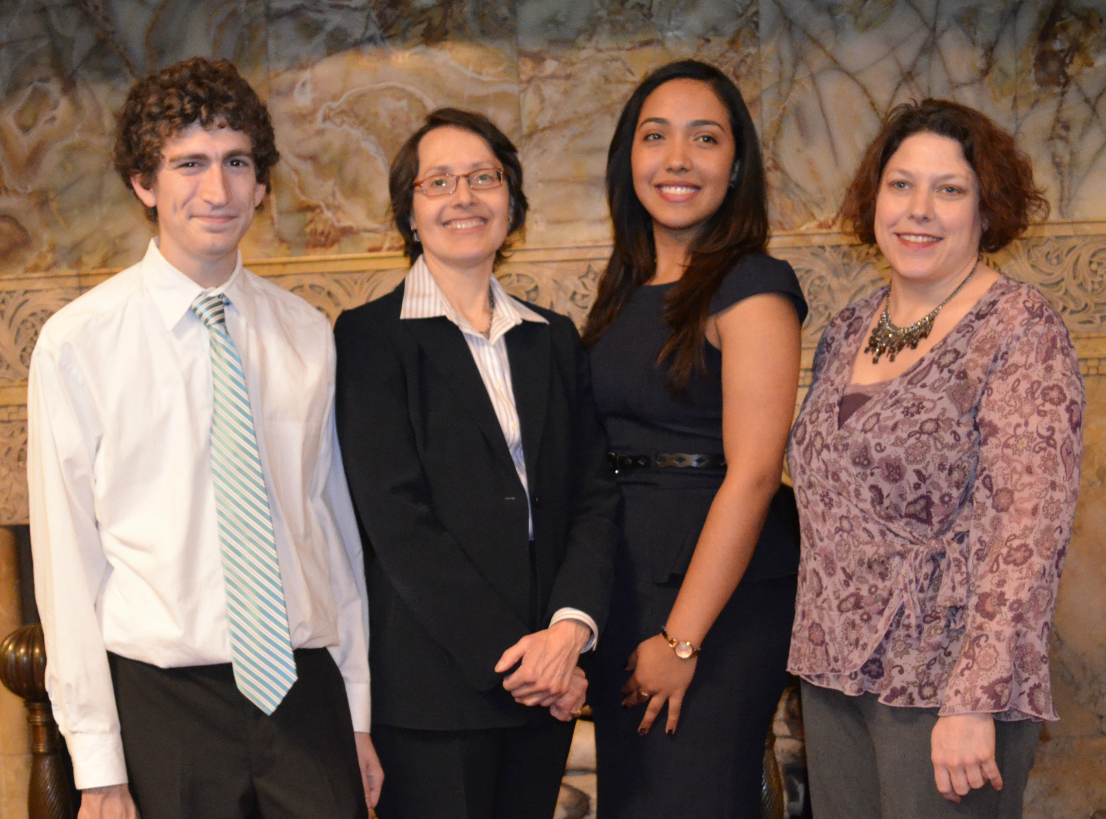 2014 Garfinkel Winners (L-R): Zackary Field, Judge Jenny Rivera, Lida Ramos Arce, and Rhonda Parker