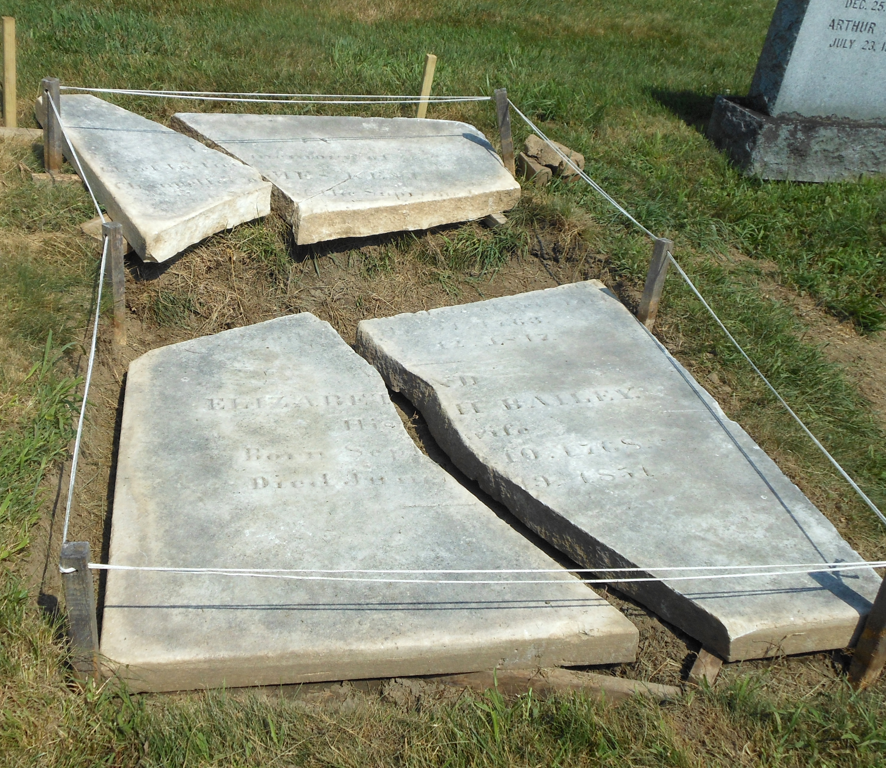 Kent gravestone in four pieces, cleaned and stabilized, ready for next phase