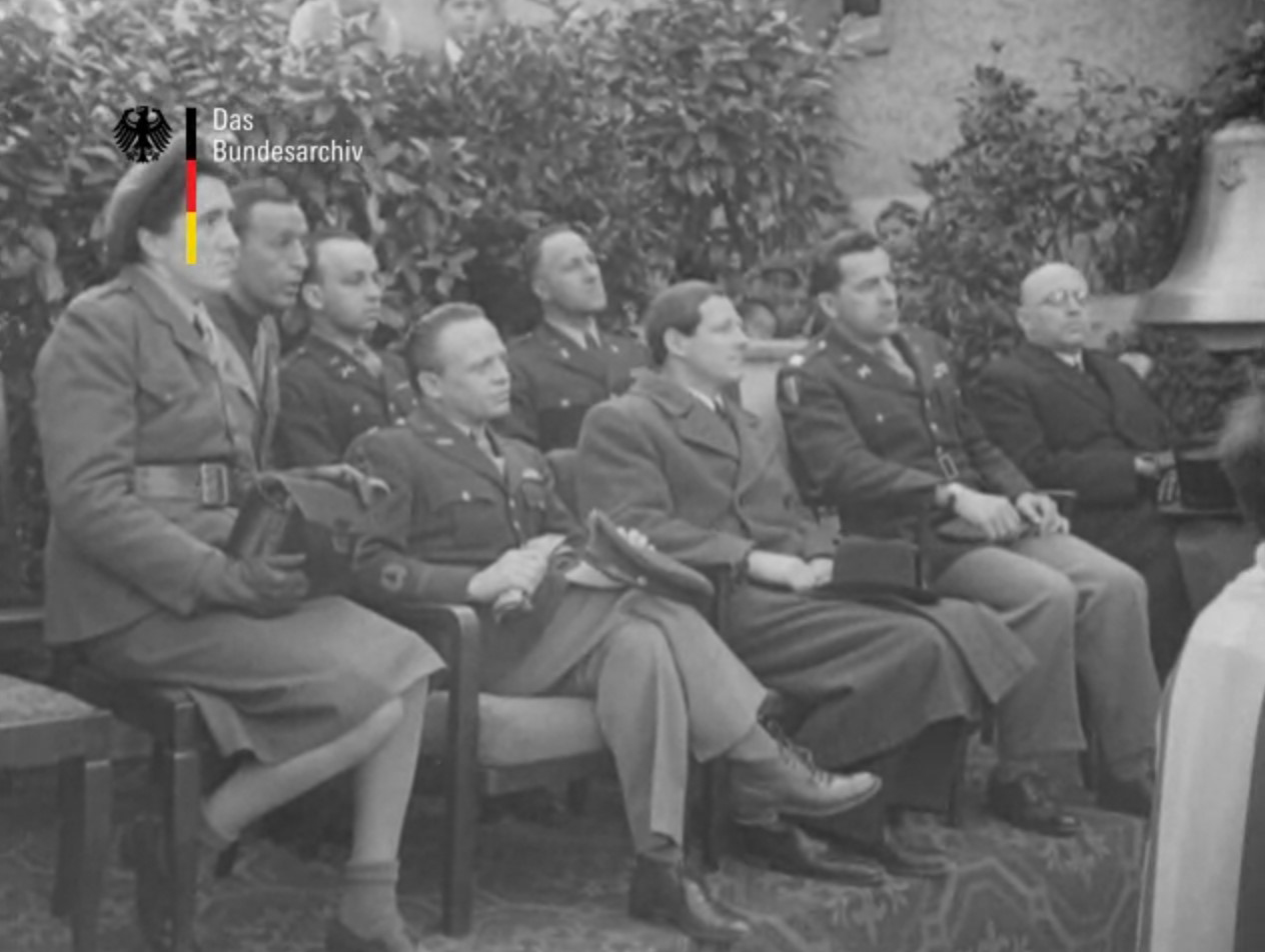 Judge Jasen, second from the right, at an April 1946 ceremony for the reclaimed church bells in Heidenheim, Germany.