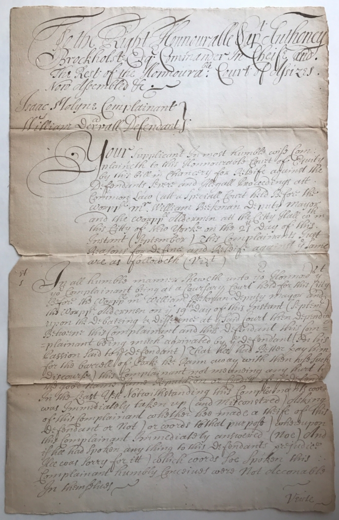 Court of Assizes Bill and Assize, Isaac Molyne v. William Dervall (1682)