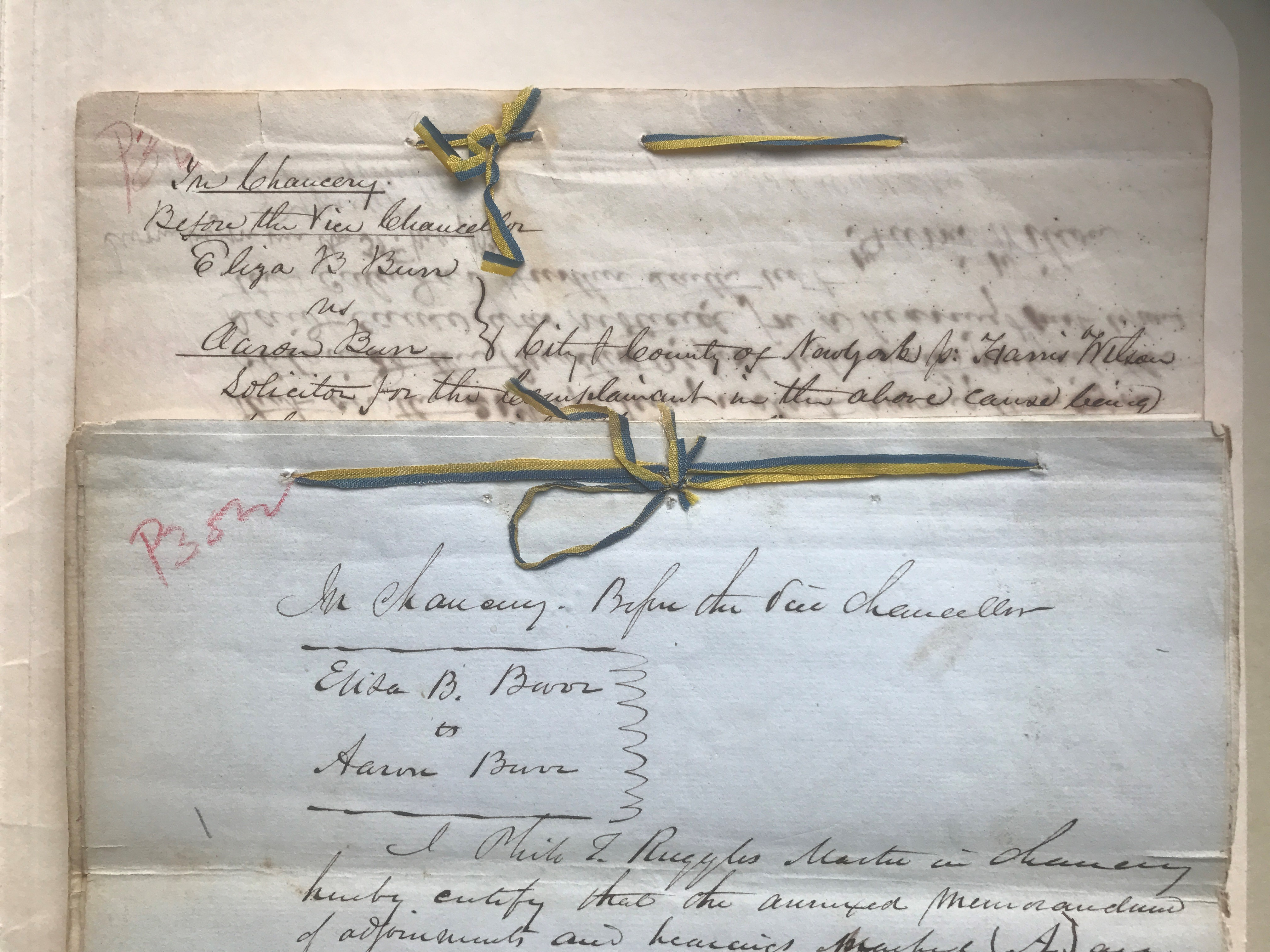 Court of Chancery Affidavits in the Divorce Case Eliza B. Burr and Aaron Burr (1836)
