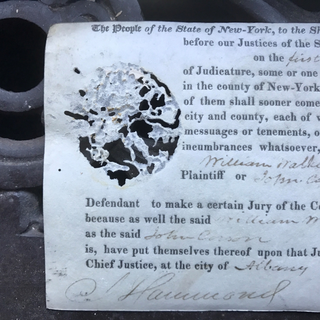 Silverfish Damage on Supreme Court of Judicature Writ of Venire (1800s)