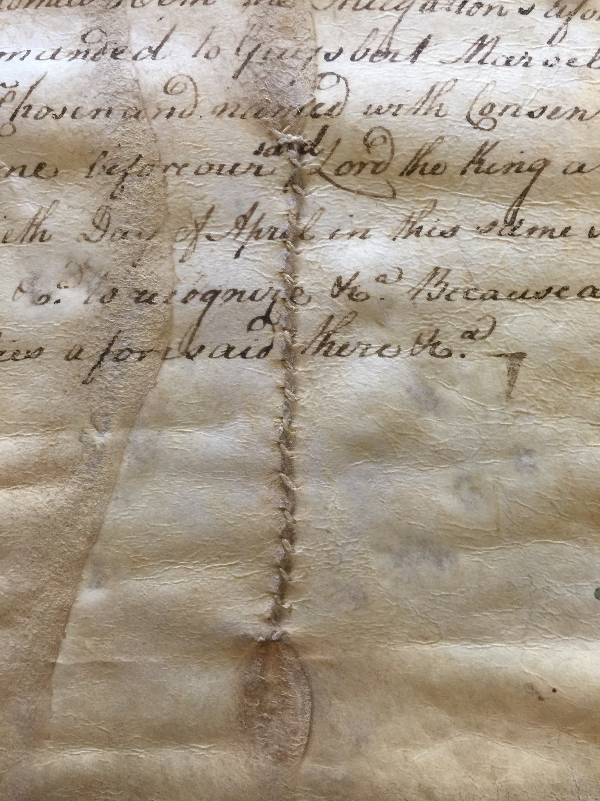 Stitched Repair to a Parchment