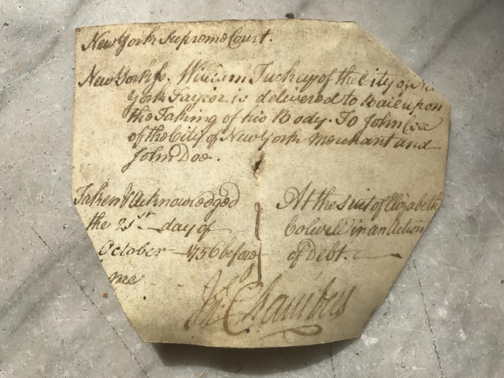 Supreme Court of Judicature Bail Piece (1756)