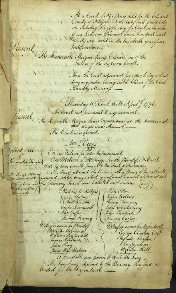 Supreme Court of Judicature Nisi Prius Court (April 7, 1796)