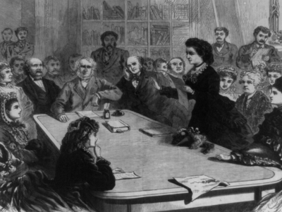 Victoria Claflin Woodhull reading an argument in favor of women's suffrage to the Judiciary Committee of the House of Representatives, 1871.