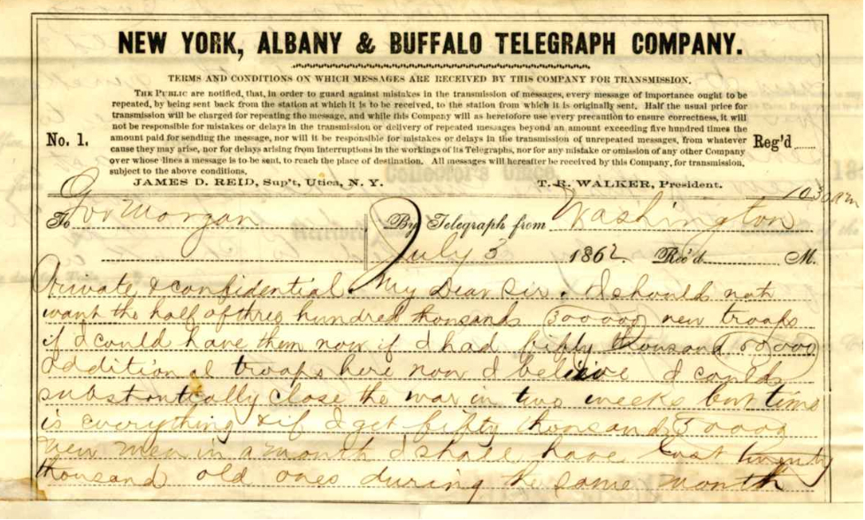 1862 Telegram from President Lincoln to NY Governor Morgan