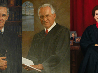 Official Court of Appeals portraits of Hon. Joseph W. Bellacosa, Hon. Richard C. Wesley, and Hon. Judith S. Kaye