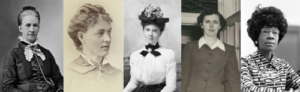Belva B. Lockwood, Kate Stoneman, Helen Z.M. Rodgers, Charlotte Smallwood-Cook and Shirley St. Hill Chisholm