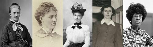 Belva B. Lockwood, Kate Stoneman, Helen Z.M. Rodgers, Charlotte Smallwood-Cook and Shirley St. Hill Chisholm
