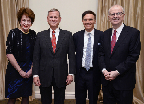 (L-R): Hon. Judith S. Kaye, Hon. John G. Roberts, Jr., Hon. Robert A. Katzmann, and Hon. Jonathan Lippman. Credit: New York Law Journal & Rick Kopstein.