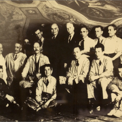 WPA artists with Attilio Pusterla standing center wearing suit (left)