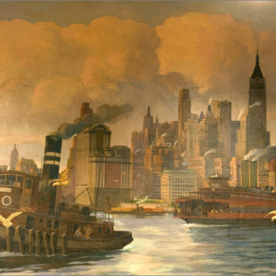 Mural of New York Harbor in Jury Room 452