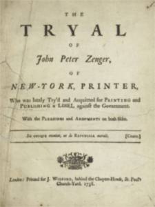 Cover page of The Tryal of John Peter Zenger