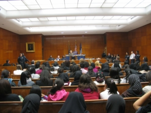Students in the courthouse