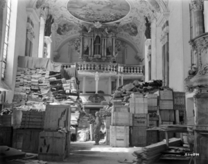 German looted art stored at Schlosskirche Ellingen (Bavaria), Germany, found by troops of the U.S. Third Army