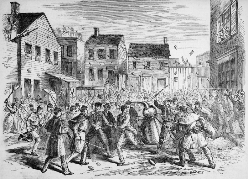 An illustration from Frank Leslie's Illustrated Newspaper that depicts soldiers raiding an illegal distillery in Brooklyn in 1869. © Bettmann/CORBIS