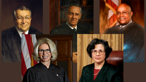 Back Row: Hon. Vito Joseph Titone, Hon. Joseph William Bellacosa, Hon. Theodore T. Jones, Jr. Front Row: Chief Judge Janet DiFiore, Hon. Carmen Beauchamp Ciparick