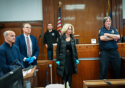 Chief Judge DiFiore and Chief Administrative Judge Marks observe one of the first virtual arraignments of the NYC Criminal Court.