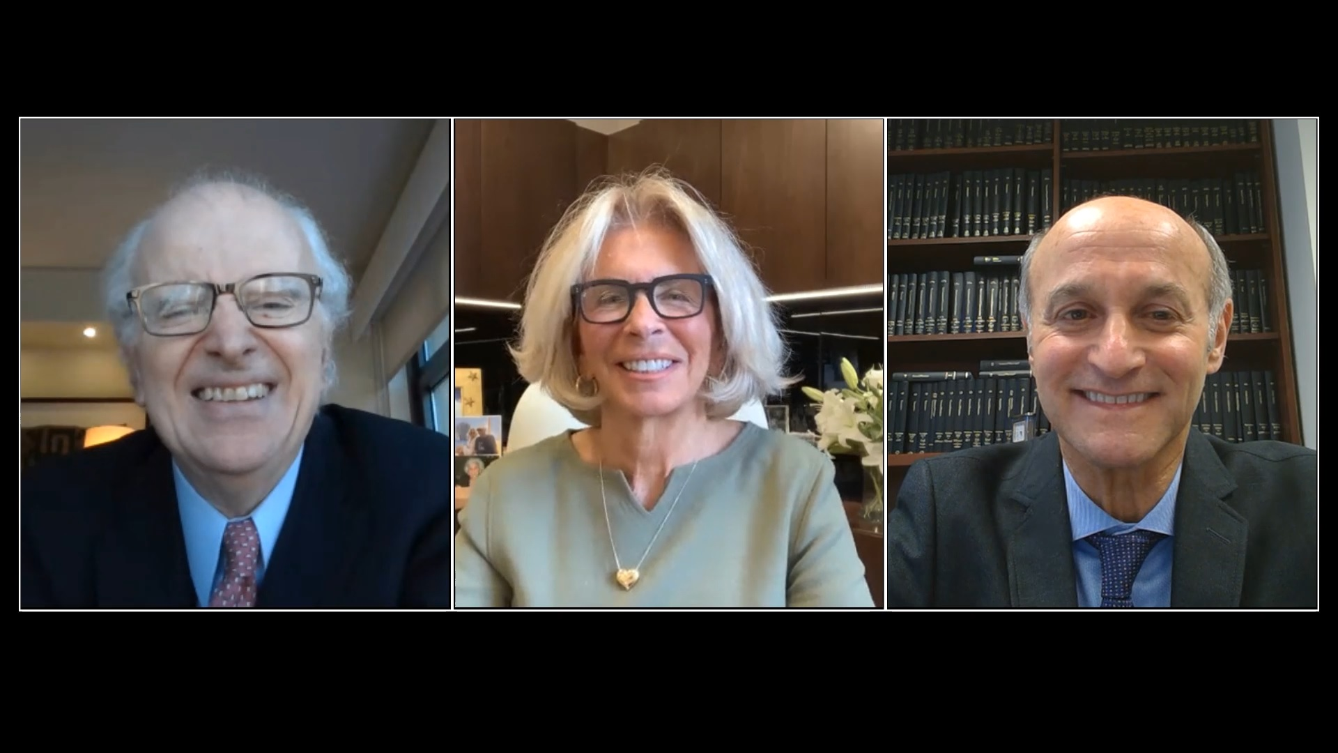 Former Chief Judge Jonathan Lippman, Chief Judge Janet DiFiore, and Chief Administrative Judge Lawrence K. Marks